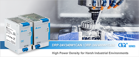 Delta Electronics announces DRP-24V240W1CAN and DRP-24V480W1CAN DIN rail power supplies