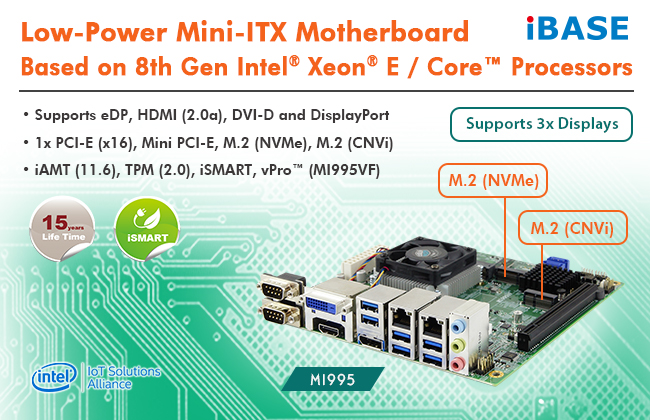 IBASE introduces MI995 Mini-ITX motherboard