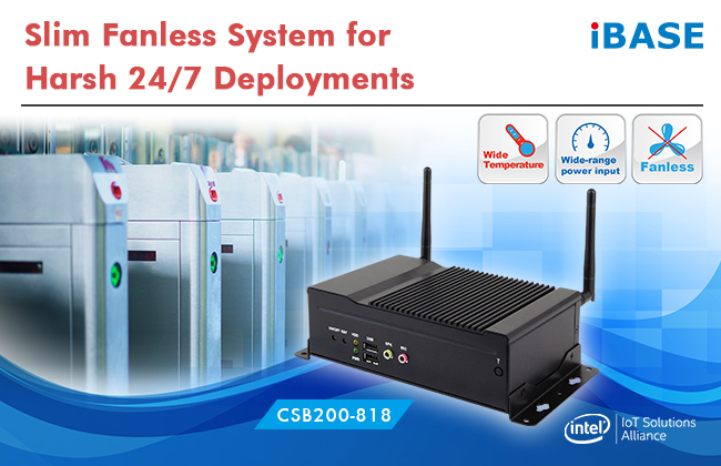 IBASE releases CSB200-818 fanless embedded computer