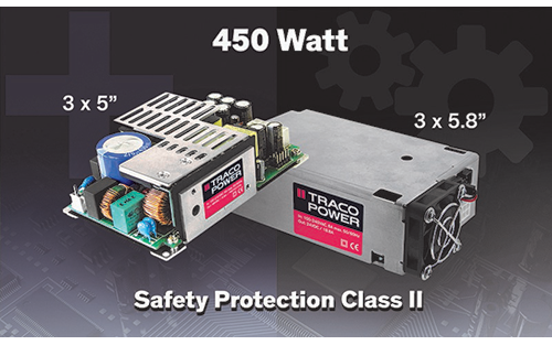 "Traco Power's TPP 450B Series 3x5"" Power Supply Offers Safety Protection Class II"