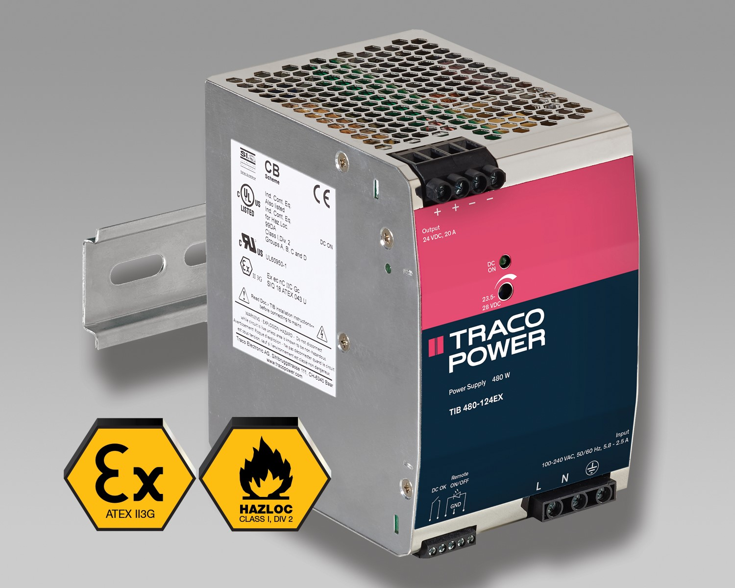 TRACO POWER releases TIB 480-EX Family of 480 Watt DIN rail power supplies