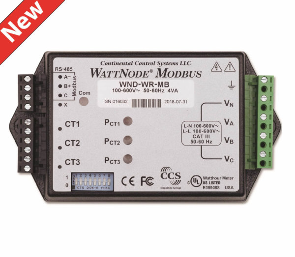 Continental Control Systems introduces WattNode Wide-Range Modbus meter