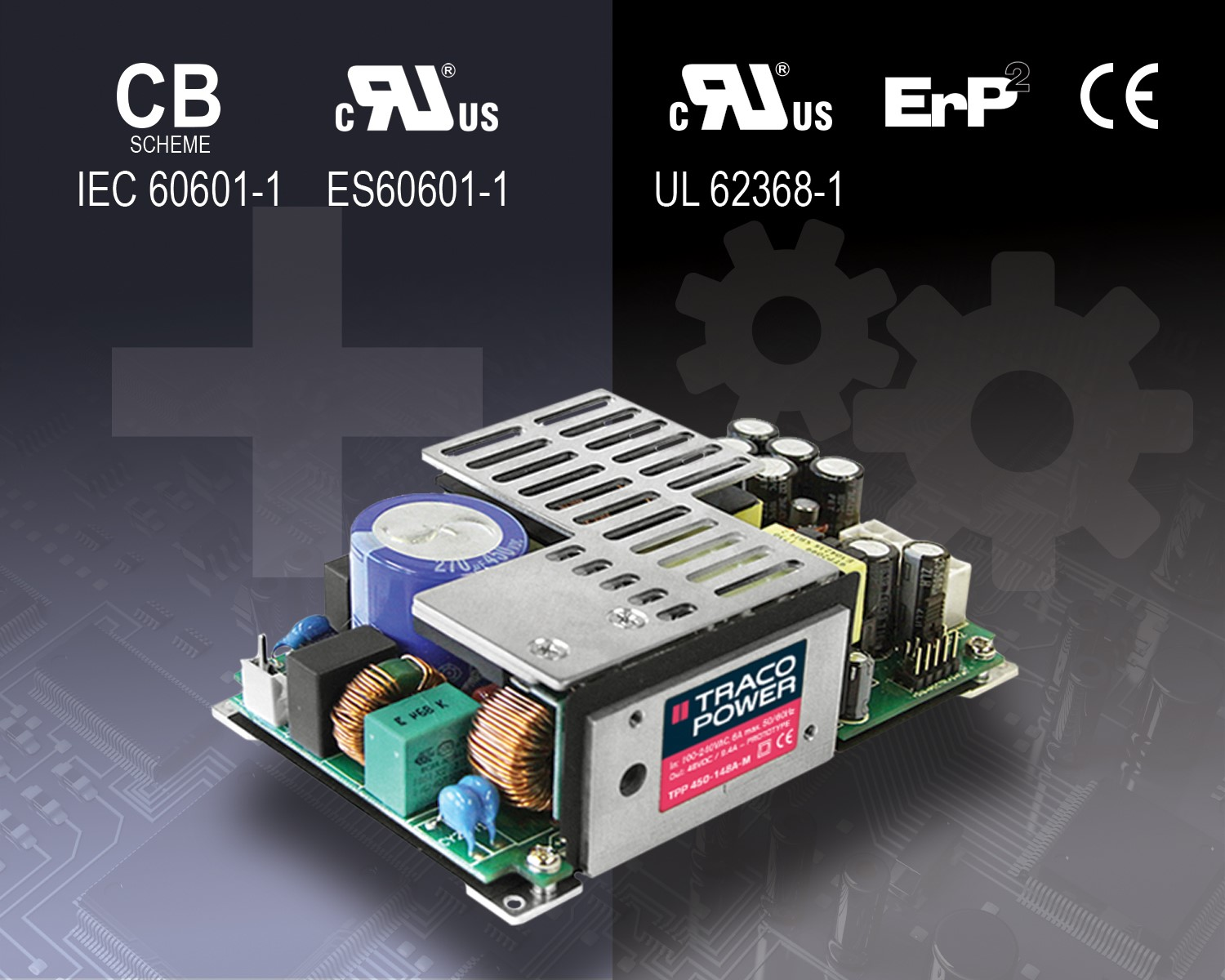 TRACO POWER releases TPP 450A series of 450 watt power supplies