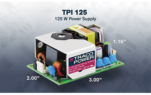 Traco Power Offers 125 Watt 2x3 Inch AC/DC Power Supply